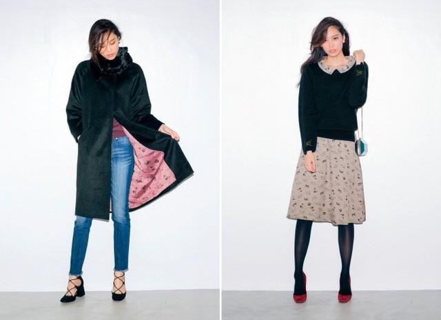 フェリシモ猫部/黒にゃんこコート&ドッキングワンピース