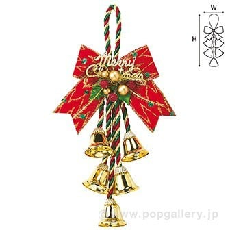 クリスマスの飾り付け、レッドリボンベルハンガー