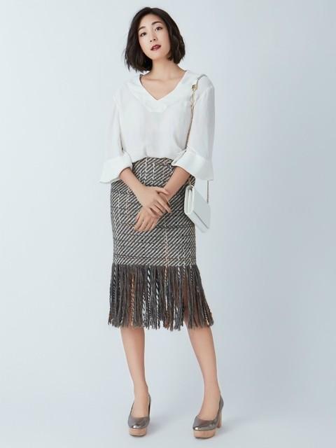 ツイード柄のスカート03