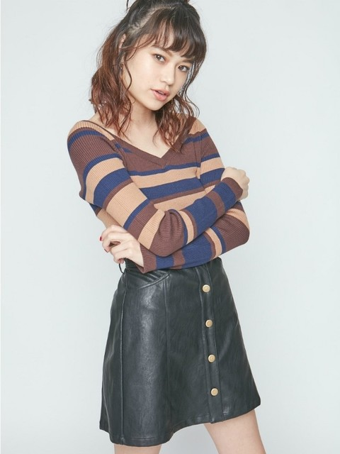 エヴリス/フェイクレザーフロントボタン台形スカート