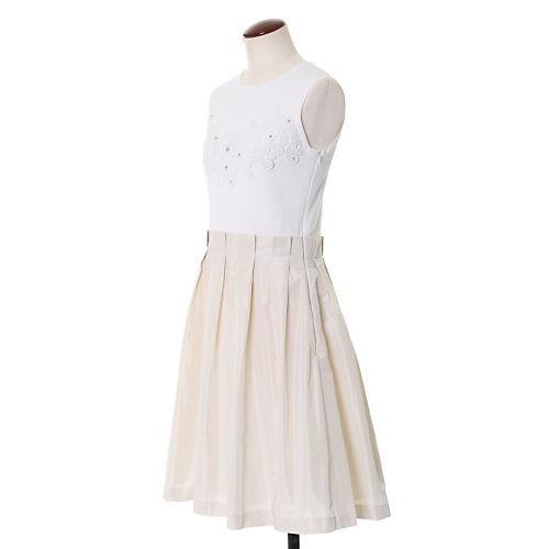 白のワンピース/マーリエ パー エフデ/刺繍レースドッキングワンピース