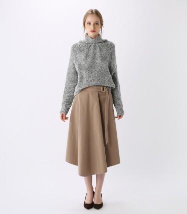 キャリアウーマンファッション/PEGGY LANA/アシンメトリータックフレアSK