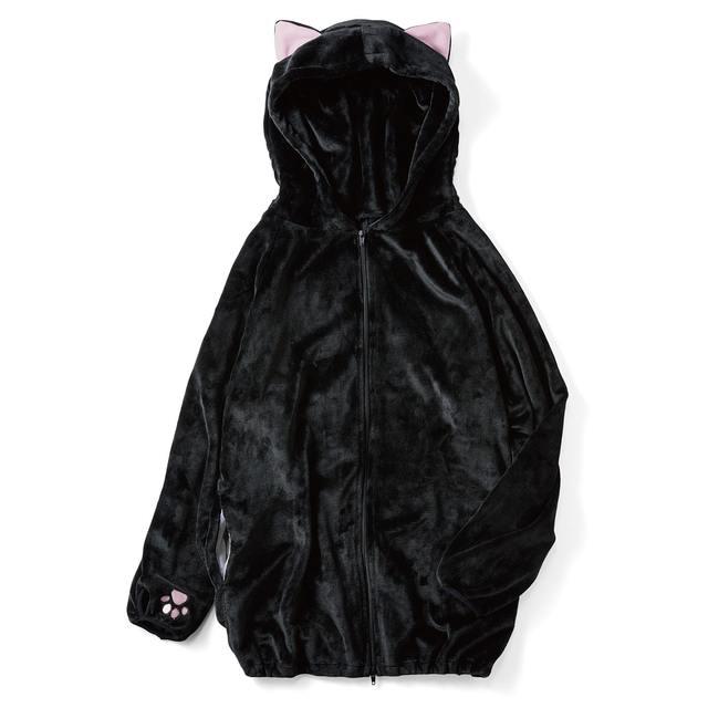 もふもふに包まれる 黒猫の耳付きルームパーカー|フェリシモ (2227)