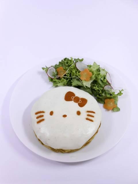 ホワイトソースで包んだキティちゃんのクロックムッシュパ...