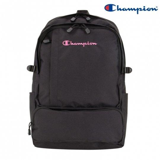ChampionデイパックM BLACK ピンク刺しゅう