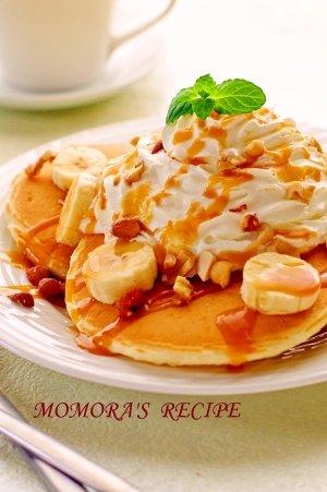 楽天レシピ:自家製・バナナキャラメルの豆乳パンケーキ (101285)