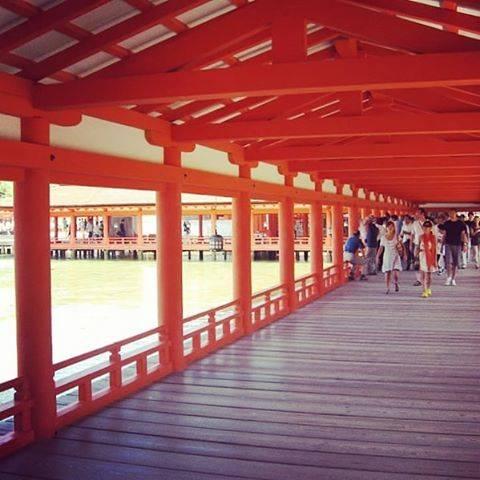 美しい朱塗りの社殿と回廊
