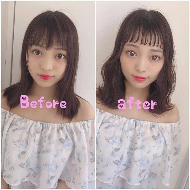 """高原 宏幸 名古屋 可愛い前髪&巻き髪風パーマスタイル on Instagram: """"💕大人気💕 Before→Afterシリーズ  今回は、 ✂️チョッピーバング✂️ チョッピーバングって 知ってますかぁ⁉️ 韓国では、大人気です🌟 チョッピーバングとは、 シースルーバングの オン眉前髪の事を 言います😊😊 正直可愛すぎてヤバいです😂😂 Cut:前髪は、…"""" (63546)"""