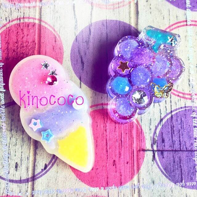 """yuco kinococo on Instagram: """"少し前に作った作品というか・・・素材? これをどうしようか迷い中。 穂乃香用ペンダントかキーホルダーにするか・・・。 穂乃香が食べたお菓子の型を再利用して作ったよ♪ なかなか可愛いのが出来て満足(*•̀ᴗ•́*) #レジン #レジン作品 #アイス #ぶどう…"""" (65767)"""