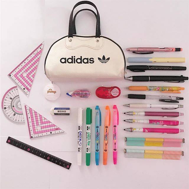 "あっぷる on Instagram: ""my pencase.!!!!! #adidasoriginals #raymay #zebra #pentel #uni #plus #mono #orions #pencase #pink #color #study #勉強垢 #ペンケースの中身#勉強垢さんと繋がりたい…"" (65943)"
