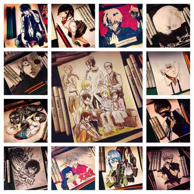"""Inagawa Jun® on Instagram: """"Thank you 2014!! Thanks for all my lovely followers! all my drawings!!!! My goal for next year is reach 10k followers!!!! ありがとう!"""" (69100)"""