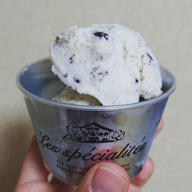 """☺♥☺★☺ on Instagram: """"ココアクッキーミルク🍪🐄 今回はタカナシ低温殺菌から木次牛乳へシフト🐮 牛乳と砂糖は同じ量、2段重ねの下は生クリーム1/2、上は倍。  生クリーム多めの方が滑らかに仕上がるかと思いきや…がっつりしまって固まっている。。 滑らかさはクリーム少ない方が出るらしい🤔  #手作りアイス…"""" (69232)"""