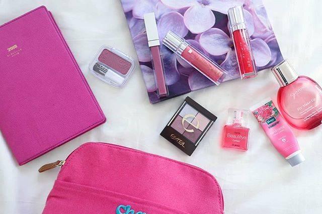 """RINA on Instagram: """"ついつい集めちゃう『PINK』アイテム❤️ . 手帳もポーチもコスメたちも 大好きなカラーに囲まれていると幸せ💞 . セザンヌ@cezannecosmetics のチーク16もやっとGETできて嬉しいっ🌟 . . . #ピンク #pink #ピンクコスメ #神崎恵 #セザンヌ…"""" (69639)"""