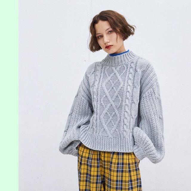 "WEGO on Instagram: ""✔︎high neck cable knit ¥2,990+tax✔︎check wide pants ¥2,990+tax@sunny_only1#wego#wegomagazine#winterfashion#knit"" (70711)"