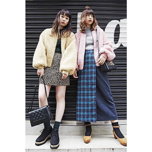 """WEGO on Instagram: """"✔︎boa blouson¥3,990+tax ✔︎high neck sweater ¥1,590+tax ✔︎leopard pattern zip mini skirt¥2,990+tax ✔︎plaid skirt¥2,990+tax ✔︎shoulderbag…"""" (70713)"""