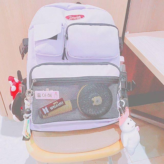 """響 on Instagram: """"new school bag ♡#韓国リュック#リュック#韓国 #korea #オルチャン#けーぽぺんさんと繋がりたい #ネームプレート#パステル#パープル# bts#jimin #chimmy #bt21#ミッキー#脂肪ちゃん#daylife #おしゃれさんと繋がりたい"""" (72172)"""