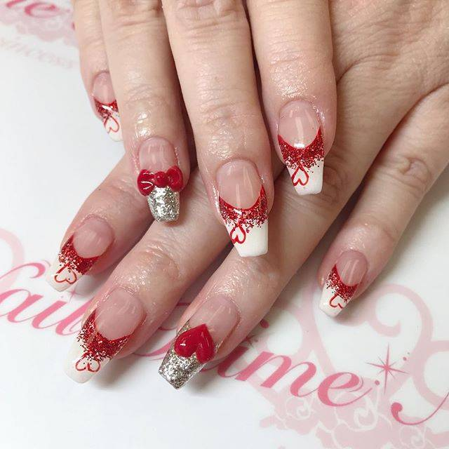 "Hime👑Nail on Instagram: ""#valentine nails #heartnails #GelNail #HimeNail #Manicure #GelNails #HimeNails #Tustin #Irvine #Love #CA #Art #ネイル #instagood #OC #Cute…"" (76222)"