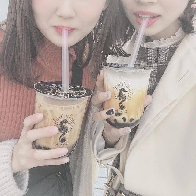 "*・iro_chan・* on Instagram: ""ーーーー♡タピ活 《シンアンジュ》黒糖ミルクand 黒糖ミルクティー#sinanju #タピオカ #心斎橋#アメリカ村#タピ活"" (76945)"