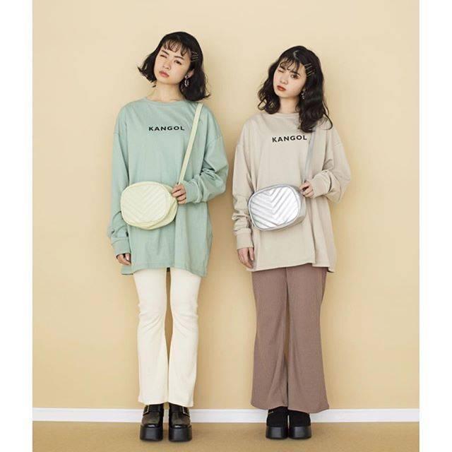 """WEGO on Instagram: """"✔︎print long t-shirt(KANGOL) ¥2,590+tax ✔︎rib flare leggings ¥1,990+tax ✔︎quilting mini shoulder ¥1,990+tax ✔︎shoes ¥3,990+tax…"""" (80117)"""