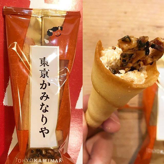 """村尾 on Instagram: """"上にのってるのはサクサクと白いところはふわふわした食感で美味しい #東京土産#東京かみなりや#souvenir"""" (88001)"""