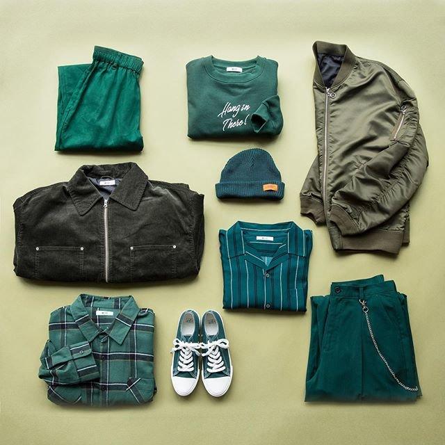 "WEGO on Instagram: ""✔︎green color items¥1,900+tax〜#wego#ウィゴー#men#メンズ#fashion"" (90976)"