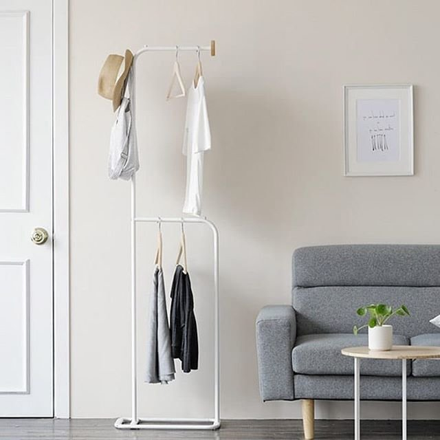 "Roomnhome on Instagram: ""【国内発送】DIY★デコスタンドハンガーラックスリームなサイズであり、狭い部屋にぴったりです。服やカバン、傘などを収納できます。一人暮らしの方へオススメ👕👚 #収納 #オススメ #ハンガーラック #シンプル #インテリア #一人暮らし #一人暮らし部屋"" (96631)"