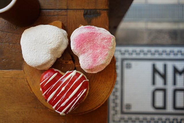 "GOOD TOWN DOUGHNUTS on Instagram: ""For Valentine's Day.  L : White chocolate M : Raspberry with White chocolate R : White chocolate with Raspberry powder.l…"" (96904)"