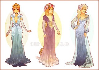 Etsy の Postcards of Art Nouveau Princesses by NeverBirdDesigns (2611)