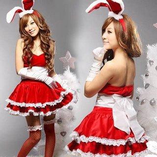 Amazon | サンタコスプレ バニーちゃん うさ耳カチューシャ付4点セット セクシーバニーガール X'mas Christmas santa costume (赤) [並行輸入品] | コスプレ・仮装 通販 (4337)