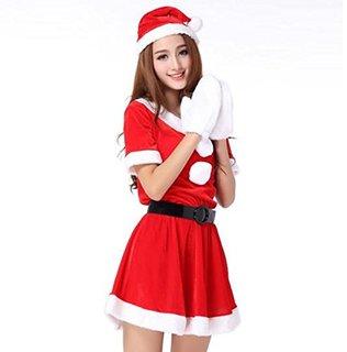 Amazon | 超かわいい & セクシー サンタ ミニワンピ 衣装 クリスマス コスプレ / サンタ 帽子 ベルト ふかふか 白手袋 4点 セット | コスプレ・仮装 通販 (4345)