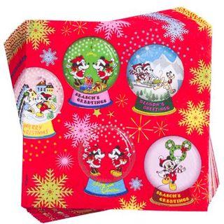 ミッキー&ミニー、クリスマス柄ペーパーナプキン。2枚 ...