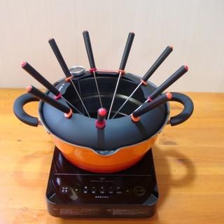 オイルフォンデュもできる 天ぷら串揚げ鍋+IH調理器セット (7105)