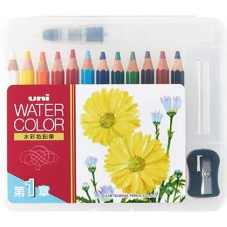 Amazon | 三菱鉛筆 水彩色鉛筆 ユニウォーターカラーコンパクト 12色 第1章 UWCNCS12C1 | 色鉛筆 | 文房具・オフィス用品 (17162)