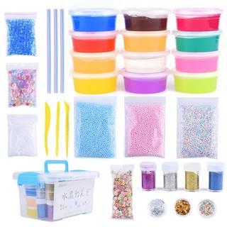 DIYスライム水晶粘土キット - AUNOOLふわふわスライムスクイーズおもちゃ、DIY小型工具付き、ストレス解消 12色入り粘土セット (56926)