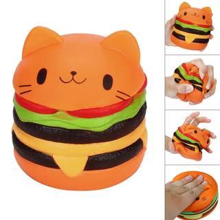 MIA-MOON スクイーズ おもちゃ ハンバーガー猫柄 可愛い 低反発おもちゃ 食品サンプル ストレス解消おもちゃ 子供 大人 誕生日 プレゼント (56928)