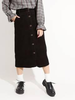 WEGO/コーデュロイ前ボタンナロースカート(BS18...