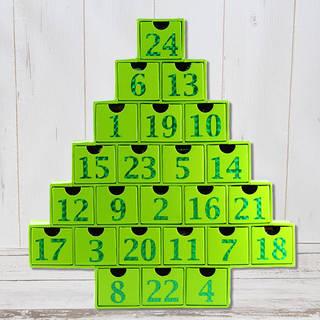1~24の数字がプリントされた24個の引き出しは、裏返...