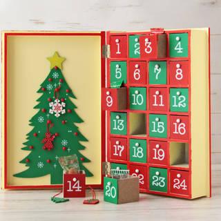 しっかりと重い木製のブック型アドベントカレンダーです。...