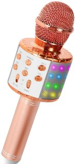 Bluetooth カラオケマイク LEDライト付き ...
