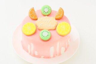 ガーリーなピンクのドリップケーキ♪ビタミンカラーが...
