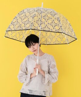 フラワーのプリントがされた透明なドーム型の雨傘。透...