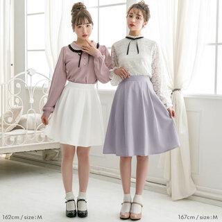 フレアの可愛いスカート。フレアやレースのブラウスと...