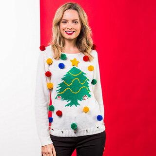クリスマスプレゼント ダサセーター カットソー カジュアル 長袖 (クリスマスショップ) Christmas Shop レディース クリスマスツリー ポンポンつき クリスマスセーター ニット (109980)