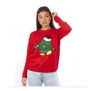 (ブレーブ・ソウル) Brave Soul レディース ペンギン クリスマス セーター ニット (109982)