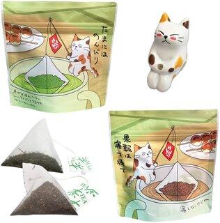 ねこ茶 ティーバッグ セット 釣り (深蒸し茶・ほうじ茶)  (110527)
