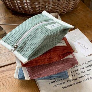 [a.poel] Corduroy Cracker pouch (全4色)  (111600)