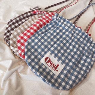 [Ossl.] チェック 巾着 クロスバッグ (全4色)  (111601)