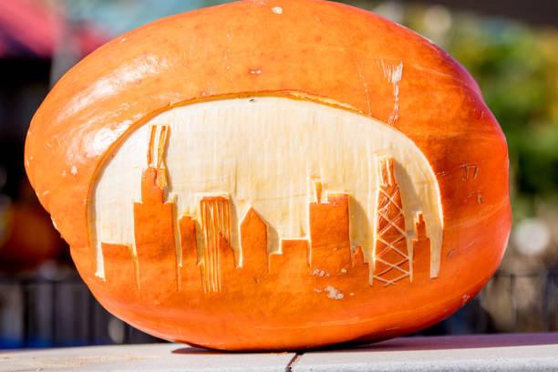Close-Up Of Carved Pumpkin ...