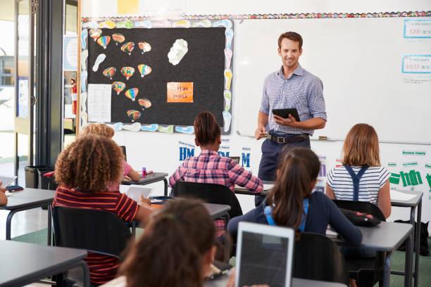 小学校のクラスの前にタブレットと先生