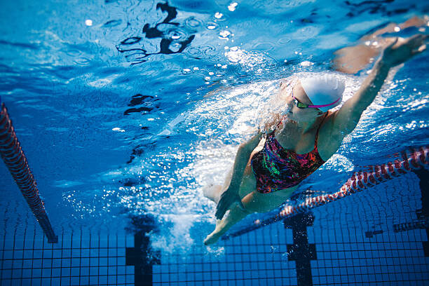 Underwater shot of swimmer ...